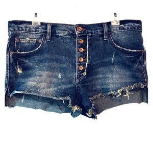 Free People | Button Fly Distressed Denim Shorts